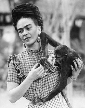 Frida Kahlo and monkey