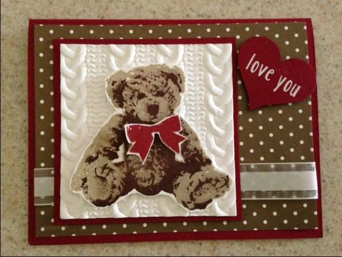 Baby Bear, Stampin' Up!, Cable knit embossing folder, Rita Mootz