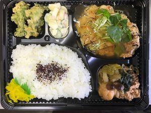 平成29年4月24日(月)ランチメニュー:豆腐ハンバーグ/すき焼き/カニかまサラダ/こごみ天
