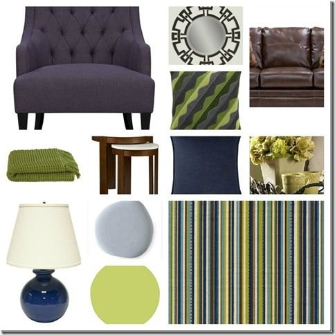 Olive And Navy Living Room