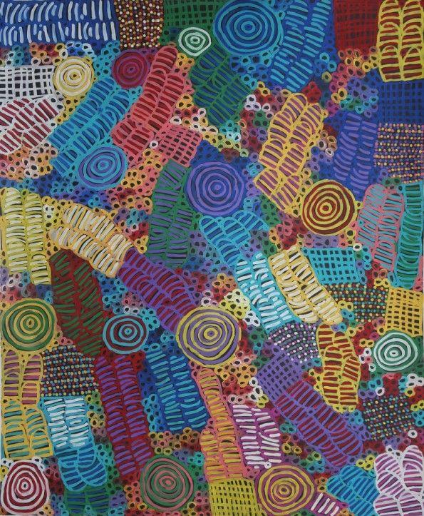 Women's Ceremony and Body Painting by Betty Mbitjana, 183x149 cm   #AboriginalArt