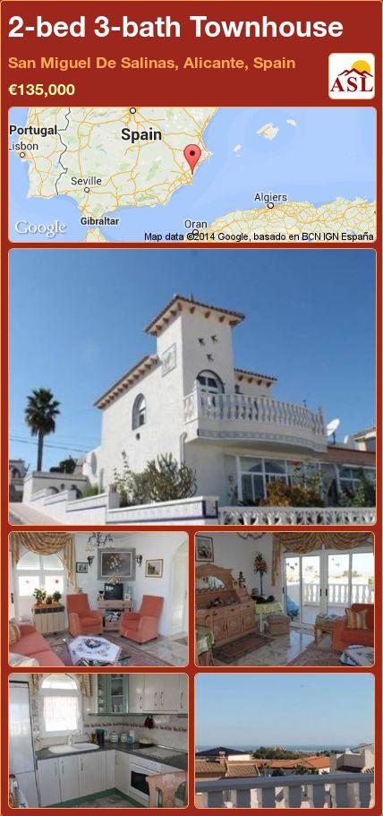2-bed 3-bath Townhouse in San Miguel De Salinas, Alicante, Spain ►€135,000 #PropertyForSaleInSpain