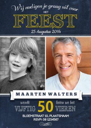 50 JAAR uitnodiging FEEST - Uitnodigingen - Te vinden op: www.kaartje2go.nl/uitnodigingen