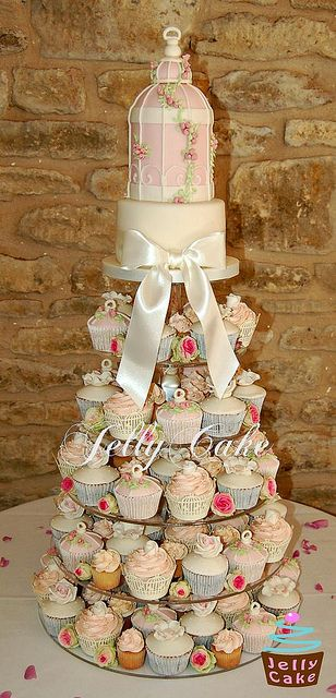 Pale Pink Birdcage Wedding Cupcake Tower