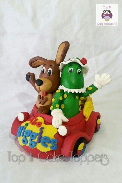 The Wiggles cake topper. Big Red Car. Dorothy The Dinosaur. Wags The Dog. Cake topper made with marshmallow fondant