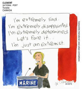 CLEMENT (2017-05-08) France: Marine Le Pen défaite ÷÷÷ Source: National Post - Toronto, Canada Keywords: COLOR FRANCE MARINE LE PEN EXTREME ELECTION MACRON 050817 Provider: CartoonArts International / The New York Times Syndicate