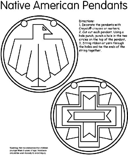 native american pendants coloring page - Symbols America Coloring Pages
