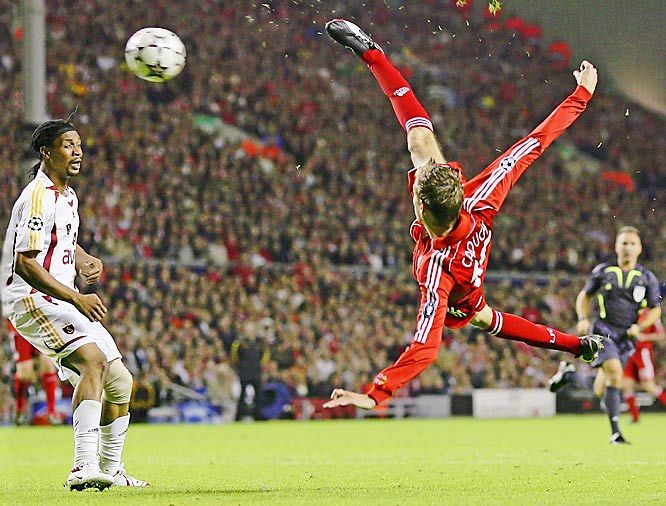 Peter Crouch of Liverpool scores on an acrobatic kick against Galatasary in a UEFA Champions League, Group C match at Anfield Stadium in Liverpool.  Photo: Alex Livesey/Getty Images