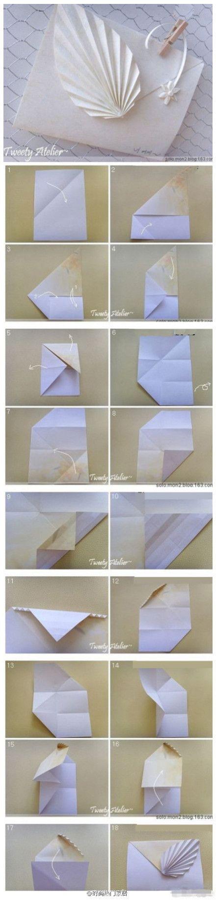 Envelope origami tutorial leaves
