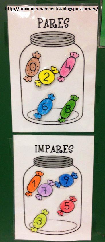 Rincón de una maestra: Carteles para el aula: Pares e impares