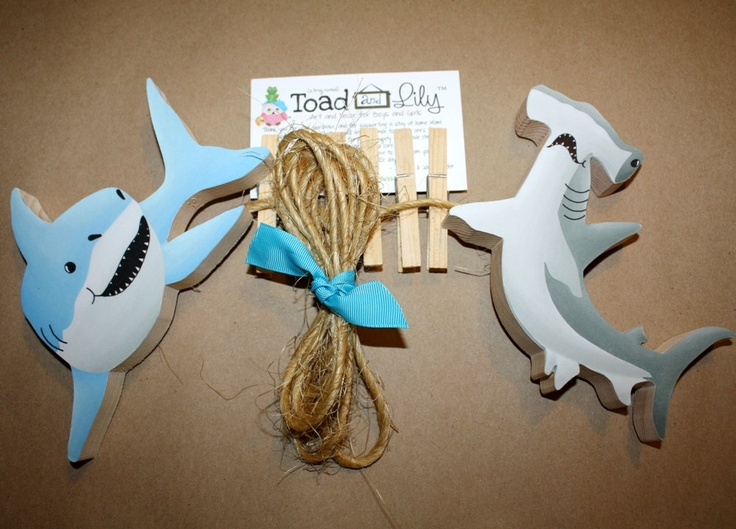 Sharks Wooden Boys Wall Art Display Clips for Kids Bedroom Baby Nursery Playroom. $22.00, via Etsy.