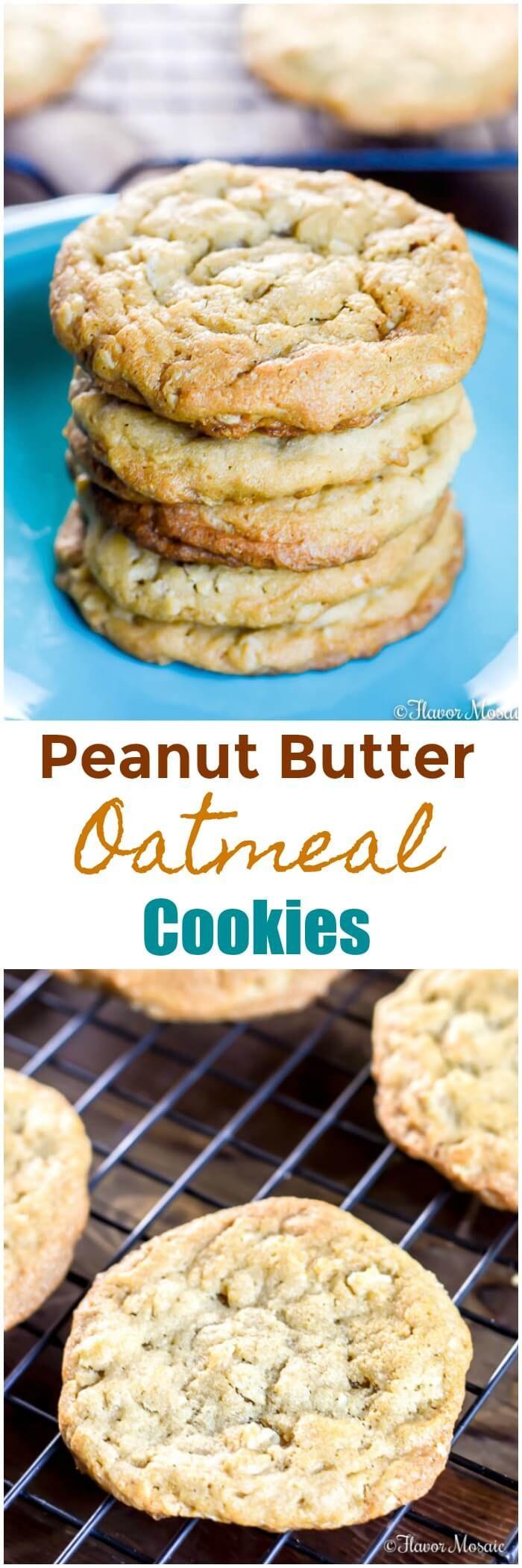 Peanut Butter Oatmeal Cookies ~ https://FlavorMosaic.com