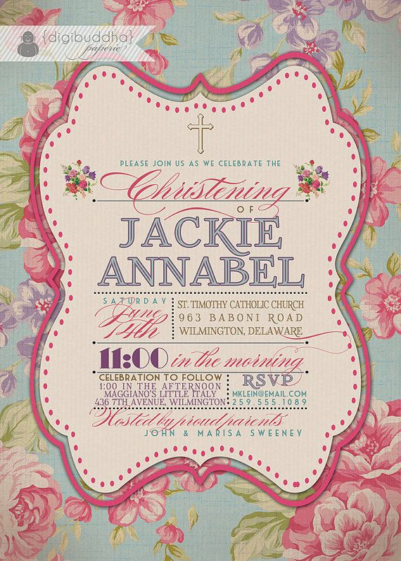 flower christening invitation