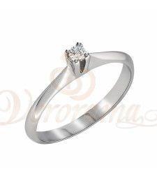 Μονόπετρo δαχτυλίδι Κ18 λευκόχρυσο με διαμάντι κοπής brilliant - MBR_007