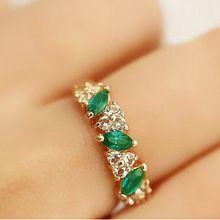 Anéis atacado bonito de cristal para as mulheres de jóias toque feminino Anel de esmeralda(China (Mainland))