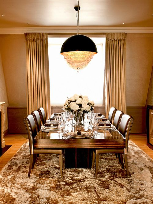Contemporary Dining Room Idea In London With Beige Walls And...