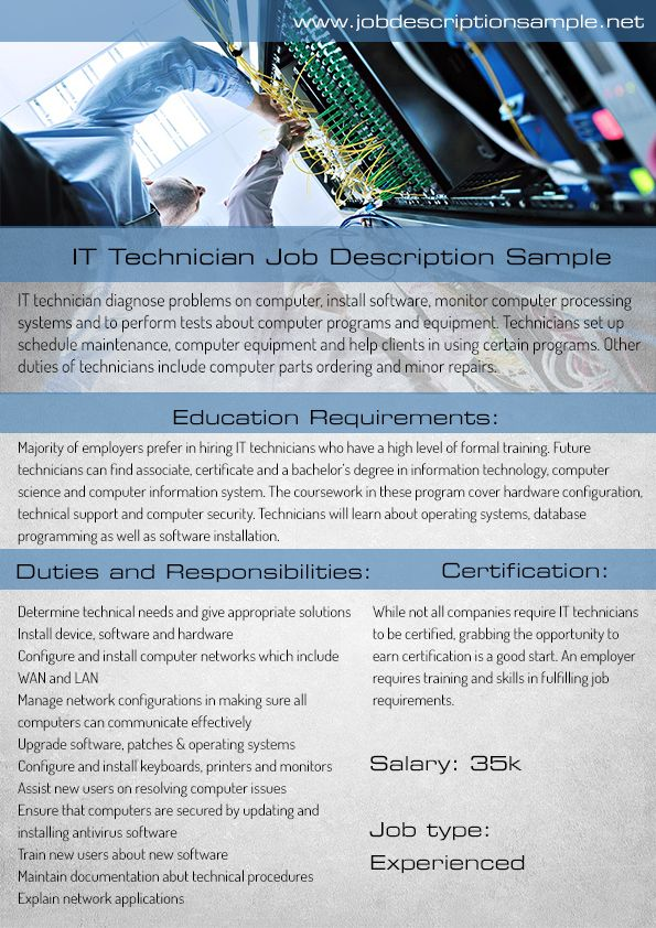 it technician job description sample 10 best job description sample images