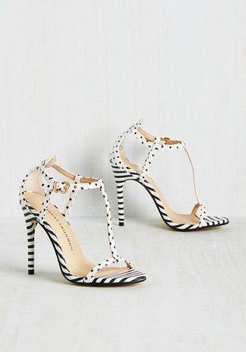 Joyful Companion Heel - White, Black, Polka Dots, Stripes, Prom, Daytime Party, Graduation, Homecoming, Wedding Guest, Nautical, Summer, Better, T-Strap, Black/White, White, High, Faux Leather, Party, Cocktail, Girls Night Out, Bridesmaid