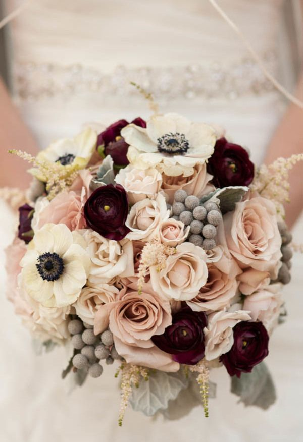 Winter bouquet of quicksand roses, ranunculus, majolica spray roses, astilbe, baby's breath, anemones, brunia// Jennifer Baumann Photography
