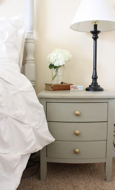 Dirt Stains and Paint: Nightstand Re-do using Sherwin Williams Rushing River paint color.