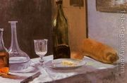 Still Life With Bottle Carafe Bread And Wine  by Claude Oscar Monet