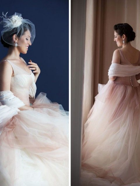 Vera wang ombre tulle ball gown with pick up skirt size 2 for Pick up skirt wedding dresses