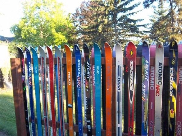 old snow skis = fence. memories.