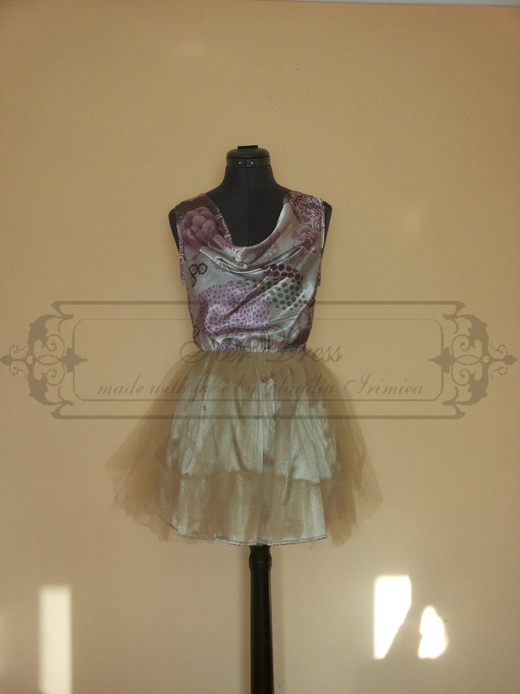 Falling Low Cut Neckline Asian Printed Satin and Nude Tulle Dress by HerDressByClaudia on Etsy