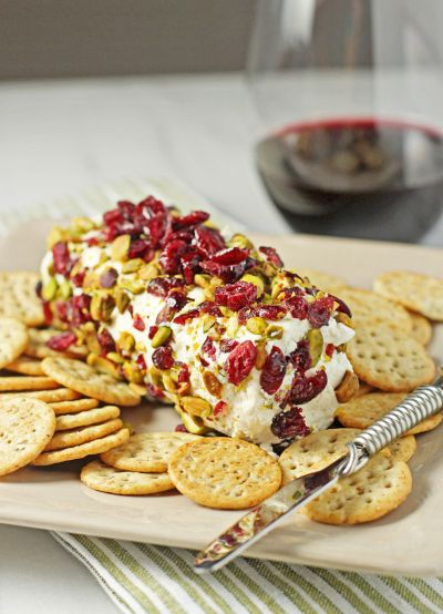 Baked goat cheese with cranberries and pistachios