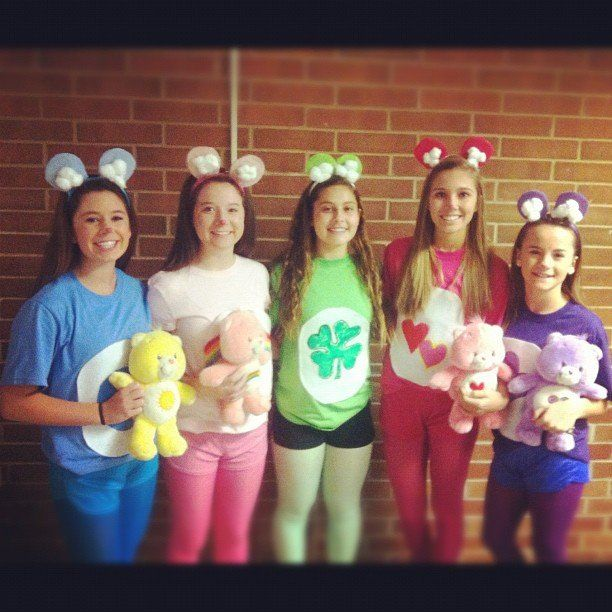Brighten up a Halloween party by opting for the Care Bear group costume.  What you need to do: Make ears ou...