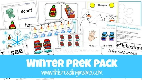 FREE Winter PreK Pack {This Reading Mama} Preschool activities while homeschooling. #preschool #homeschool
