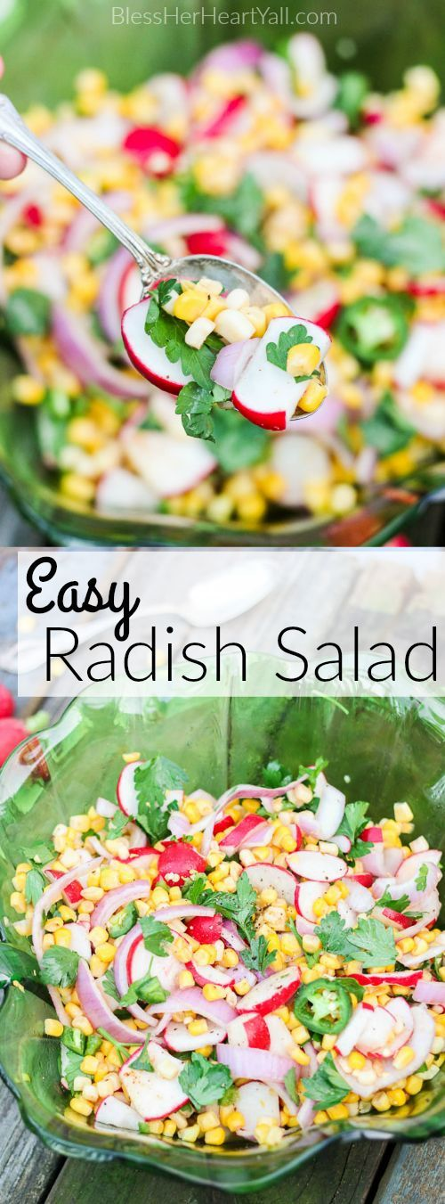 This easy and refreshing radish salad is full of sweet corn, crisp radishes, jalapeño slices, fresh Italian parsley, and chopped sweet red onions.  A combination of chipotle chili pepper, fresh lime juice, garlic and coriander make this dish stand out even more than it's brilliant colors.  Just five minutes of time will produce this colorful and refreshing delight that is perfect as an autumn side dish or party food! www.BlessHerHeartYall.com