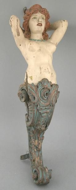 Artist Unknown. Mermaid figurehead with polychrome painted surface. American, 19th century. 24in.