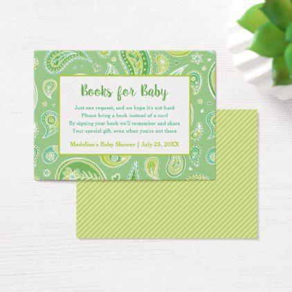 Green Paisley Baby Shower Book Request Card - baby gifts child new born gift idea diy cyo special unique design