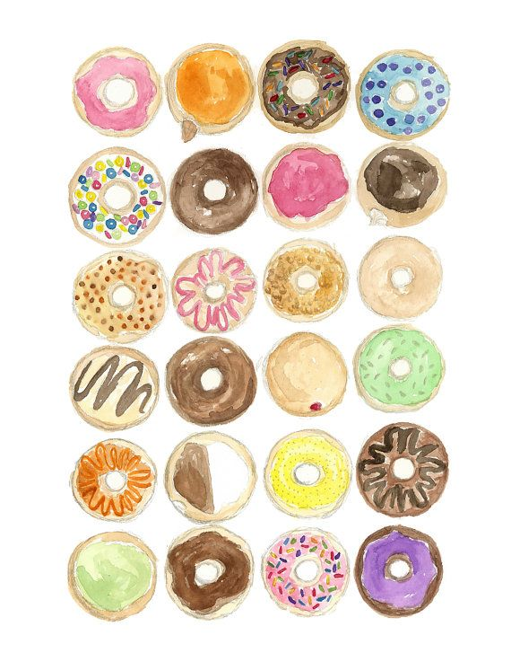 Box of Donuts Watercolor Art by KateGatteyArt