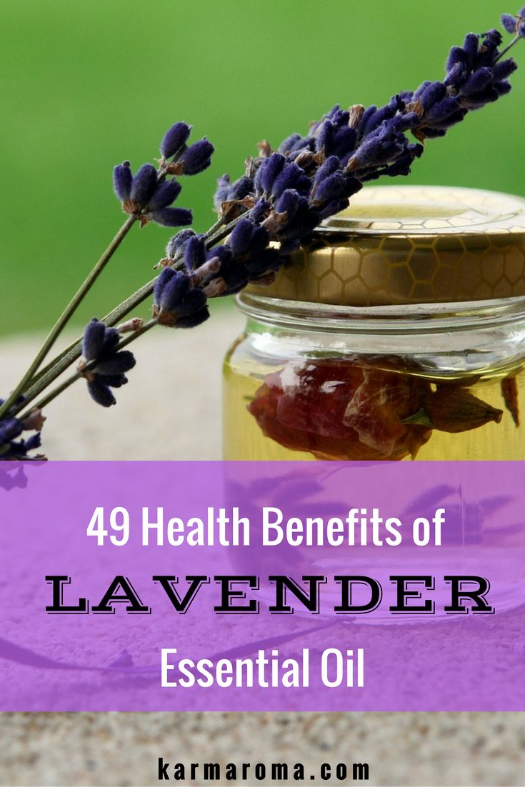 "The health benefits of lavender essential oil include its ability to eliminate nervous tension, relieve pain, disinfect the scalp and skin, enhance blood circulation and treat respiratory problems. The Latin name of lavender is Lavare, which means ""to wash"", due to its aroma which has a particularly clean aroma. Dicover 49 health benefits of Lavender Essential Oil."