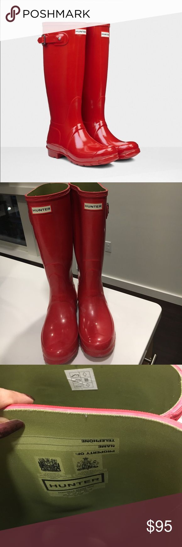 Red tall Hunter rain boots 38 Perfect for a rainy day! UK 5= US 7= EU 38. Boots are made for 7.5 but could fit an 8 fine also! The bit of wear it has is pictured but these were very well taken care and of. Feel free to ask questions! 😊 Hunter Boots Shoes Winter & Rain Boots