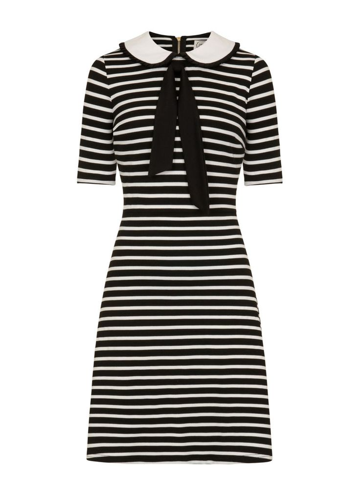 Fritha Breton Stripe Collar Dress is a stretch jersey dress in a classic Breton stripe and monochrome palette and tie-neck peter pan collar.