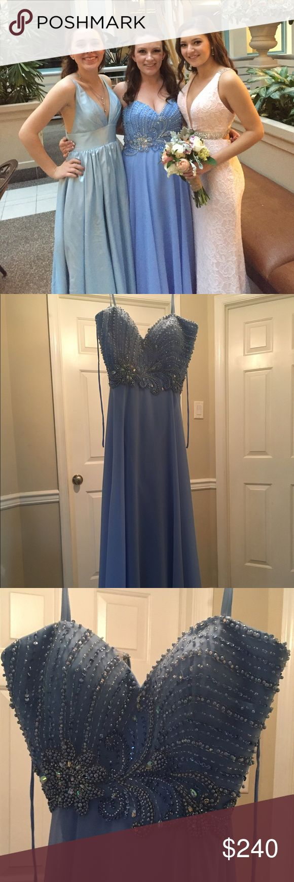 Periwinkle prom dress Size 14, altered to a size 13 and to fit someone 5'0 wearing 6 inch heels, and straps added Dresses Prom