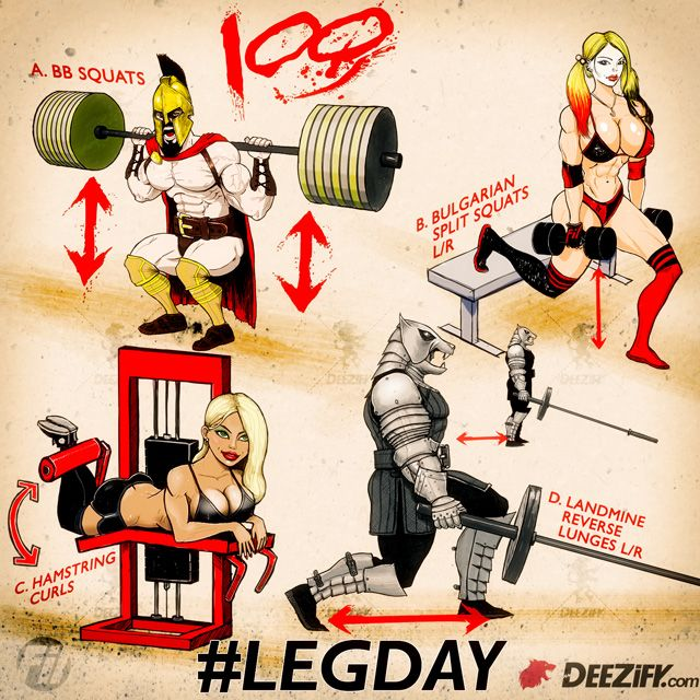 Leg Day Workout Program including squats, split squats, lunges