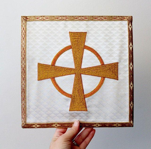 Vintage Catholic Burse Altar Linen - Corporas Case - Hand ...