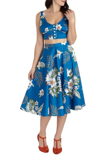 Coastal Break Skirt, ModCloth.    Love this two piece dress set! Very reminiscent of some true classic summer looks from the 50s