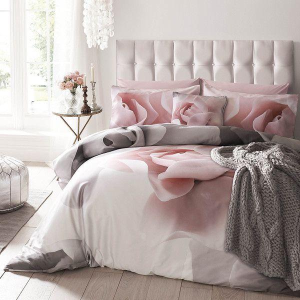 Ted Baker Porcelain Rose Duvet Cover - Super King ($145) ❤ liked on Polyvore featuring home, bed & bath, bedding, duvet covers, grey, rose bedding, floral bedding, super king bedding and ted baker