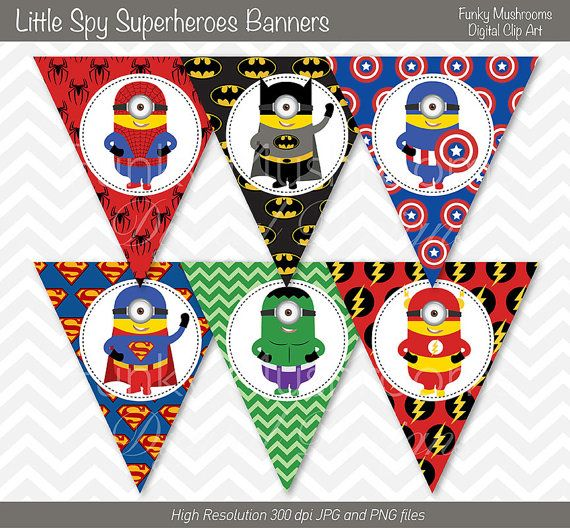 Digital Clipart-Printable Little Spy Super Heroes Party Banners for Scrapbooking, Invitations, Paper crafts commercial use INSTANT DOWNLOAD