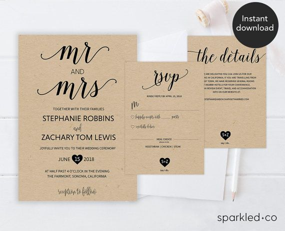 Rustic Vines Wedding Invitation Set Instantly Download Edit And