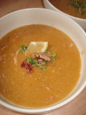 レンズ豆(レンティル)とベーコンのスープ
