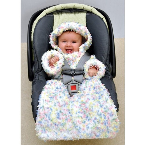 Mary Maxim - Snuggly Bunting Size 3-6 months - Warm and cozy bunting bag with opening for easy access to buckle. Shown in (002) Sprinkles.