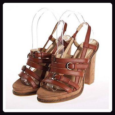 LvYuan-ggx Damen High Heels Pumps Leder Sommer Normal Pumps Blockabsatz Braun 10 - 12 cm , brown , us4-4.5 / eu34 / uk2-2.5 / cn33 - Damen pumps (*Partner-Link)