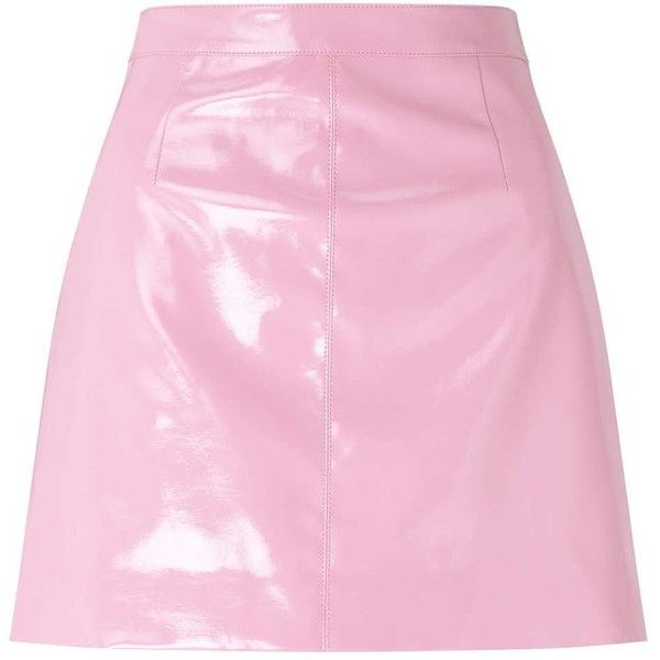 Miss Selfridge Pink Vinyl A-Line Skirt (180 PLN) ❤ liked on Polyvore featuring skirts, pink, pink knee length skirt, pink a line skirt, miss selfridge, pink vinyl skirt and vinyl skirts