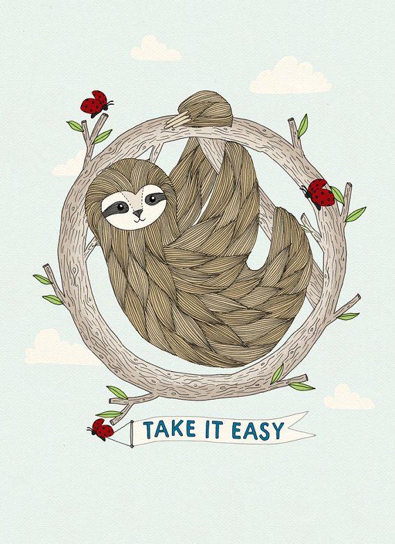 I like the texture. Sloth Print - Take It Easy - A4 Print - Sloth Illustration - Illustration Print - Art Print - Animal Print